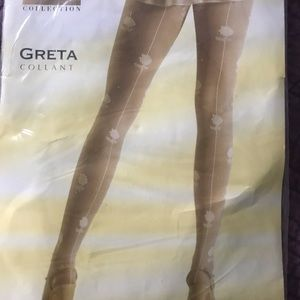 Fish net stockings with floral design